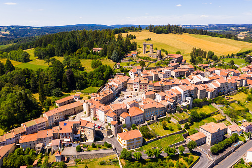 Picturesque aerial view of Allegre commune in Haute-Loire department, south-central France