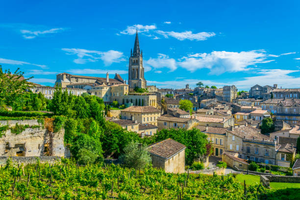 Aerial view of French village Saint Emilion dominated by spire of the monolithic church Aerial view of French village Saint Emilion dominated by spire of the monolithic church bordeaux stock pictures, royalty-free photos & images