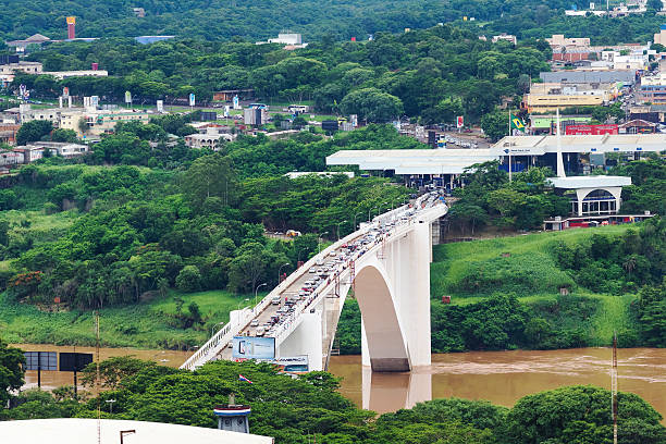 Aerial View of Friendship Bridge Connecting Brazil and Paraguay stock photo