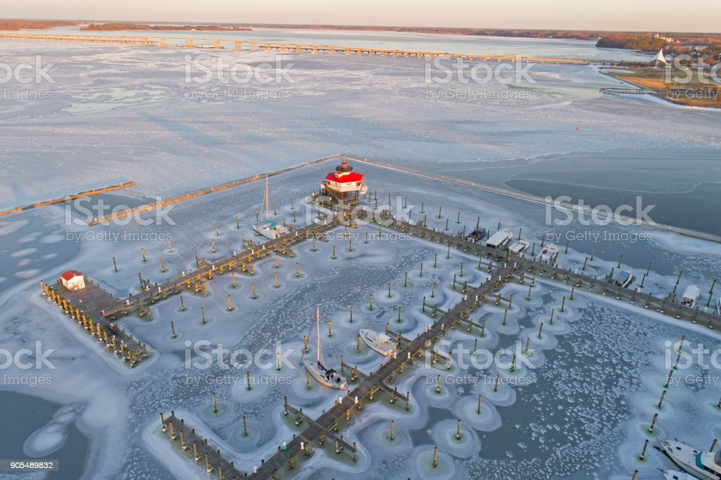 Aerial View of Frozen Choptank River and Lighthouse stock photo