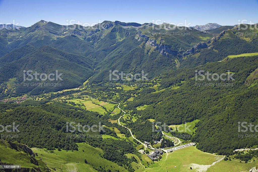 Aerial view of Fuente Dé valley. Picos de Europa, Spain royalty-free stock photo