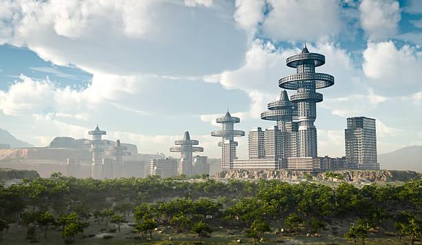 空から見た未来的な街 ストックフォト