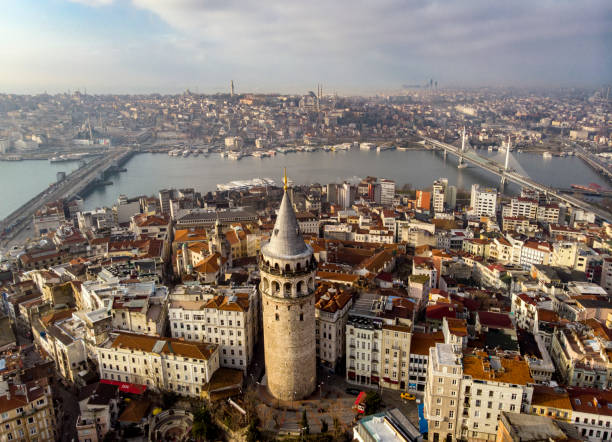Aerial view of Galata Tower in Istanbul, Turkey stock photo