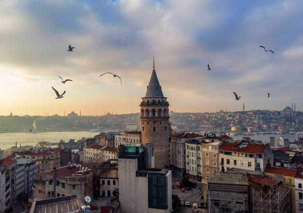 Aerial view of Galata Tower in Istanbul, Turkey Aerial view of Galata Tower in Istanbul, Turkey bosphorus stock pictures, royalty-free photos & images