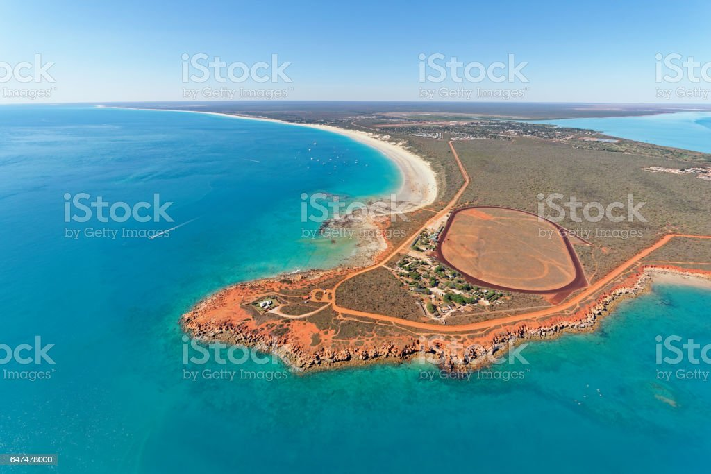Aerial view of Gantheaume Point and Cable Beach, Broome, Western Australia stock photo