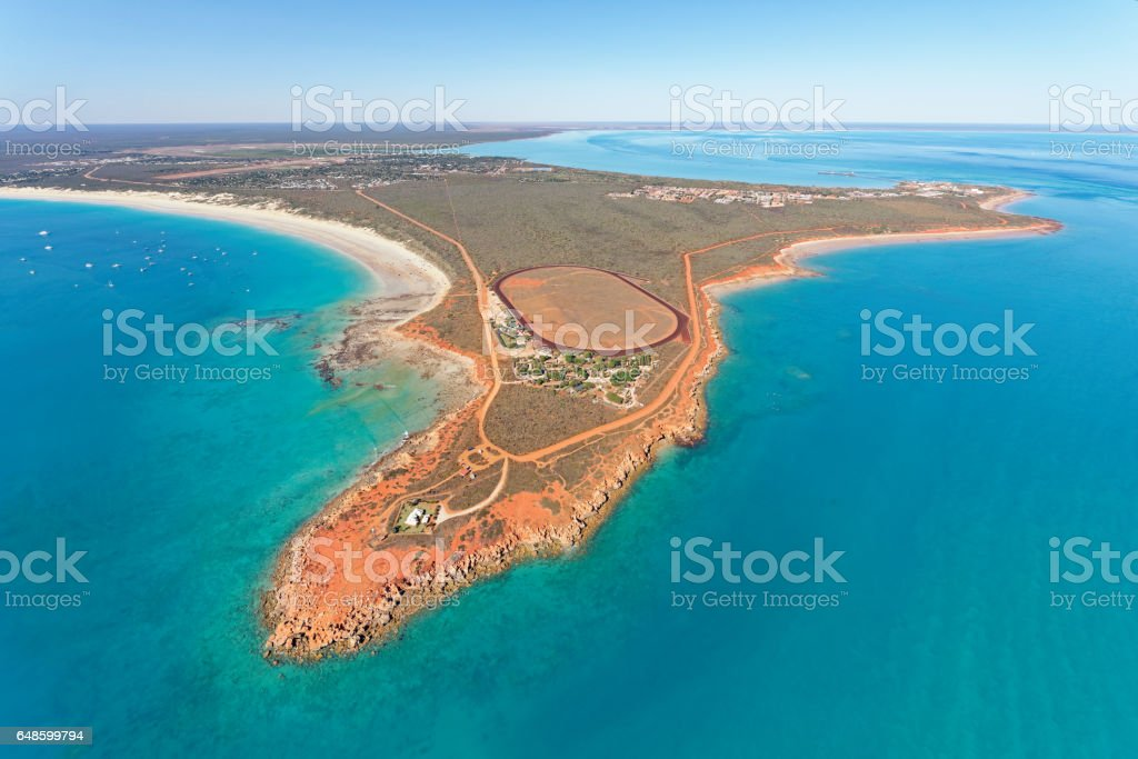 Aerial view of Gantheaume Point, Cable Beach and Minyirr Park, Broome, Western Australia stock photo