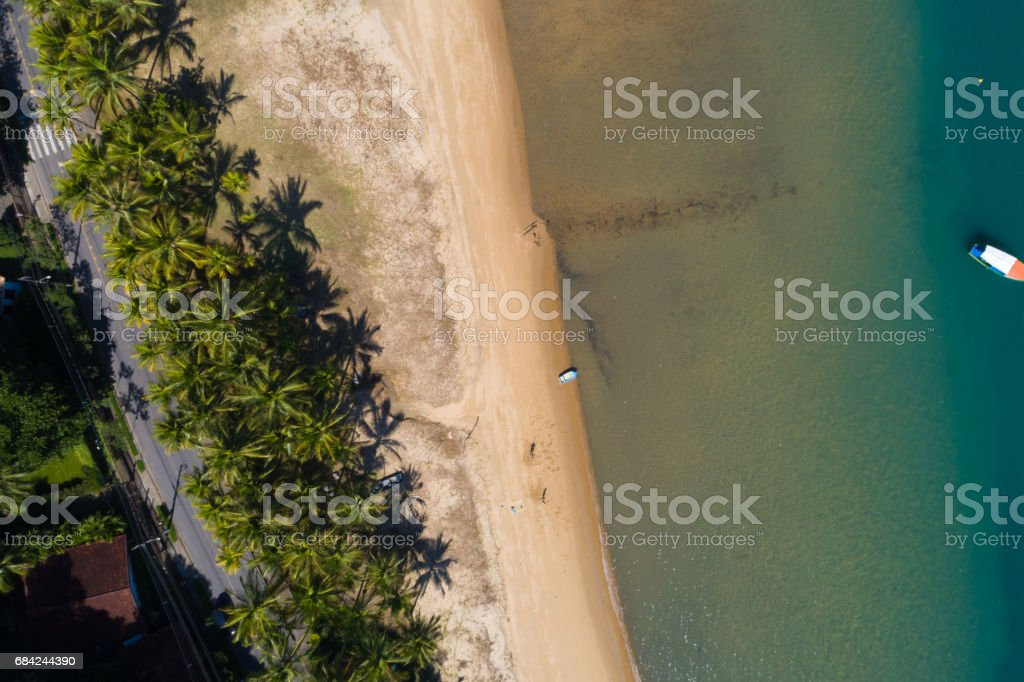 Aerial View of Garapocaia Beach in Ilhabela, Brazil royalty-free stock photo
