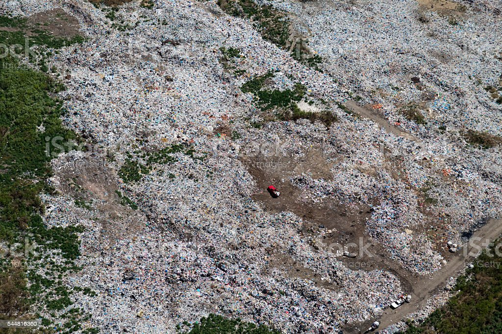 Aerial View of Garbage stock photo