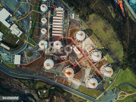 Aerial view of Gas storage tanks