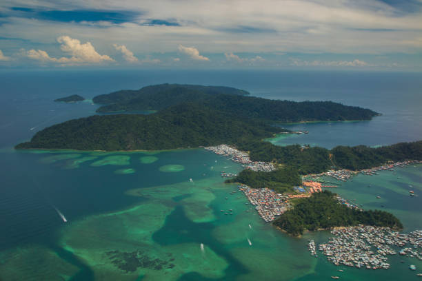Aerial view of Gaya Island stock photo