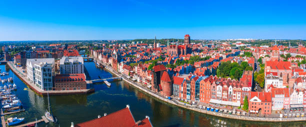Aerial view of Gdansk old town with Motlawa river in Poland stock photo