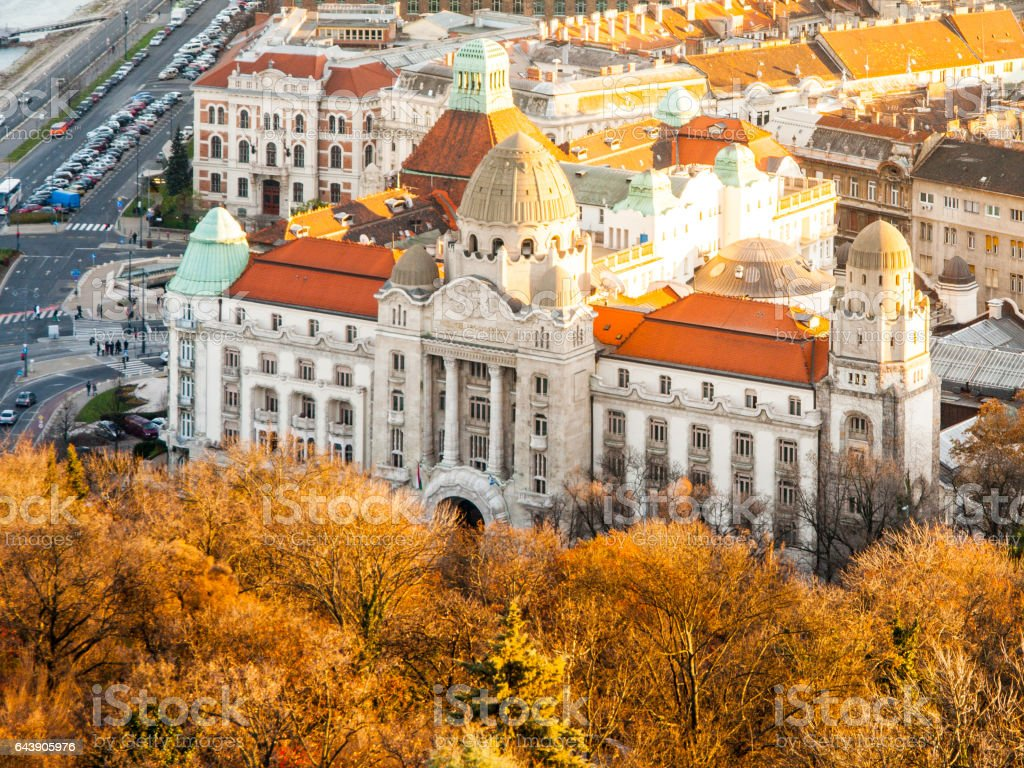 Aerial view of Gellert thermal spa historical building, Budapest, Hungary, Europe stock photo