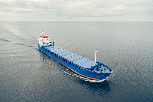 Aerial view of general cargo ship