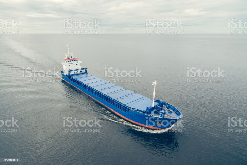 Aerial view of general cargo ship stock photo