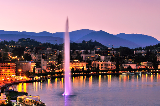 Aerial View of Geneva Cityscape at Sunset, Switzerland