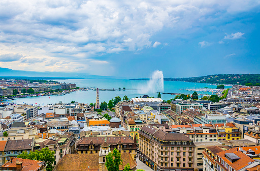 Aerial view of Geneva from Cathedral Saint Pierre, Switzerland
