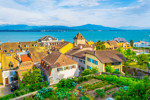 Aerial view of Geneva lake from terrace next to the Nyon Palace, Switzerland
