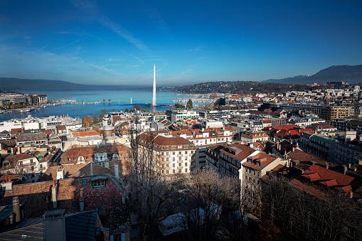 Aerial view of Geneva with Lake Geneva and Jet D'eau Water Fountain - Geneva, Switzerland