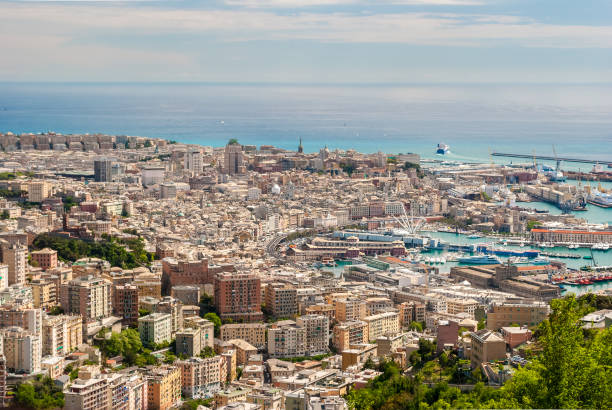 Aerial view of Genoa downtown seen from surrounding hills stock photo