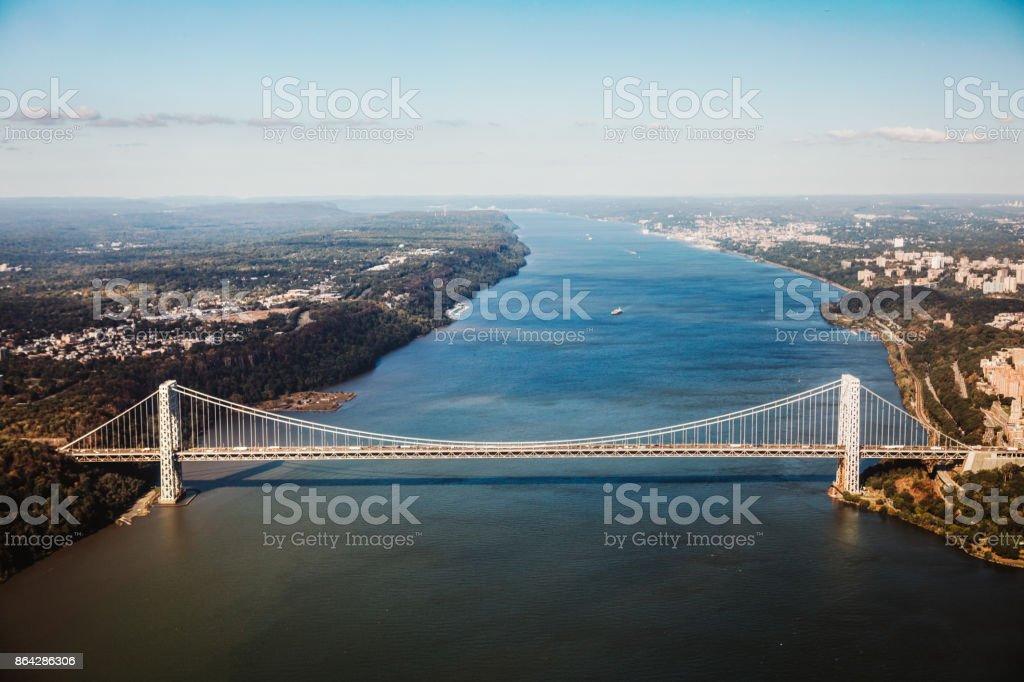 Aerial View of George Washington Bridge in New York royalty-free stock photo