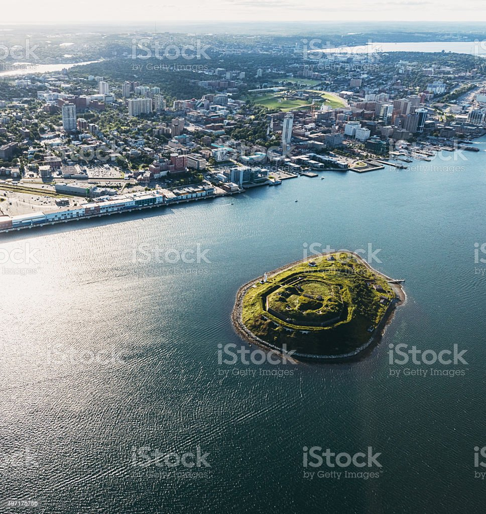 Aerial View of George's Island stock photo
