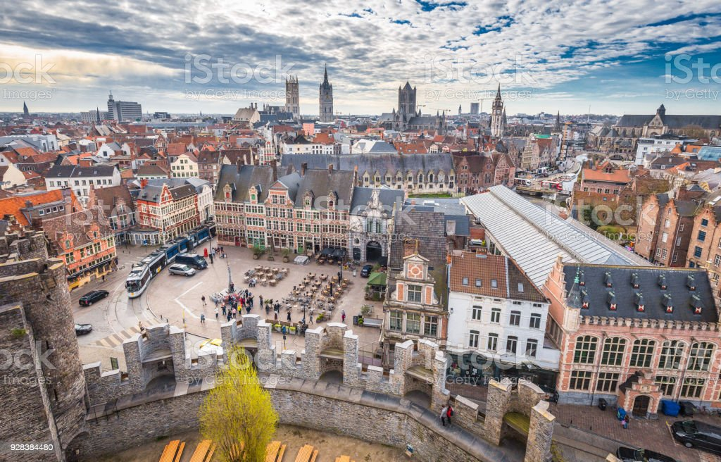 Aerial view of Ghent, Flanders, Belgium stock photo