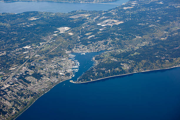 Aerial View of Gig Harbor, Puget Sound Metro Area  gig harbor stock pictures, royalty-free photos & images