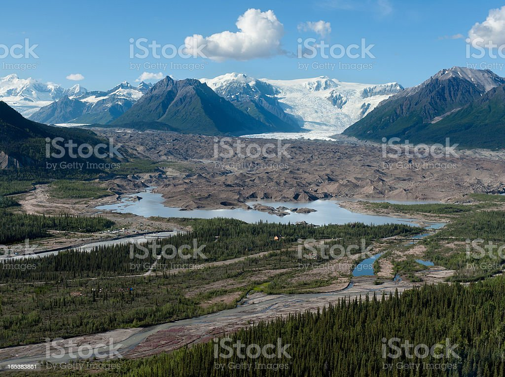 Aerial view of glacial scenery in Alaska stock photo