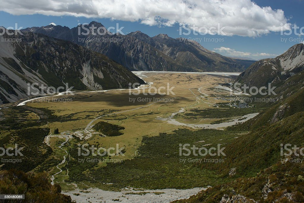 aerial view of glacial valley in Mount Cook National Park stock photo
