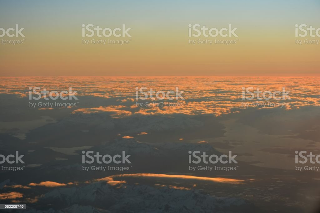 Aerial view of glaciers and landscape at Atacama desert in Chile ロイヤリティフリーストックフォト
