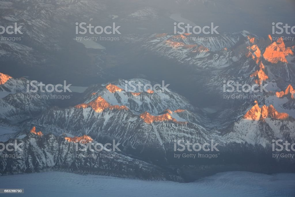 Aerial view of glaciers and landscape at Atacama desert in Chile 免版稅 stock photo