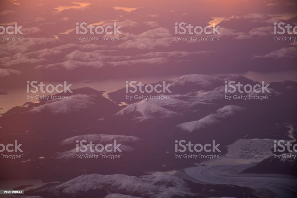 Aerial view of glaciers and landscape at Atacama desert in Chile royalty-free stock photo