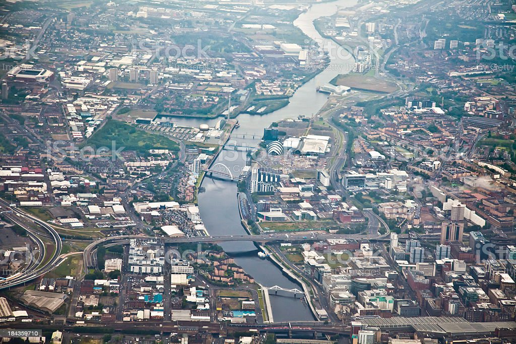 Aerial view of Glasgow city centre looking west stock photo