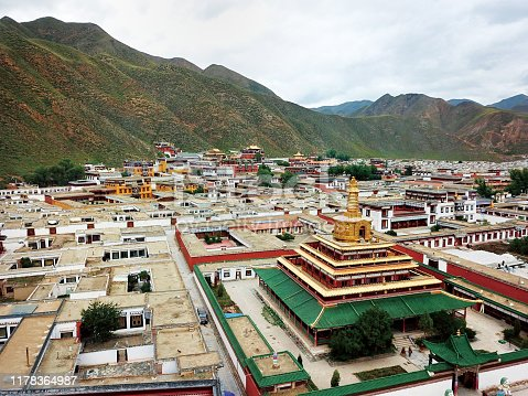 aerial view of Gongtang Great Golden Tower of Labuleng Lamasery in Xiahe County of Tibetan Autonomous Prefecture of Ganan, Gansu province, China.
