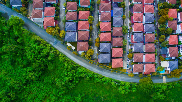 aerial view of good environmental home village and green space of natural field stock photo