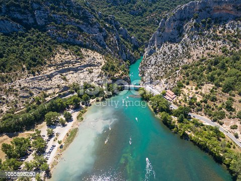 Aerial view of  Gorge du Verdon  canyon river in south of France