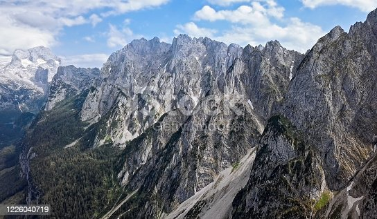 Aerial of Dachstein and Gosausee, Austria