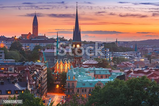 Scenic aerial view of the Old Town with Oscar Fredrik Church in the gorgeous sunset, Gothenburg, Sweden.