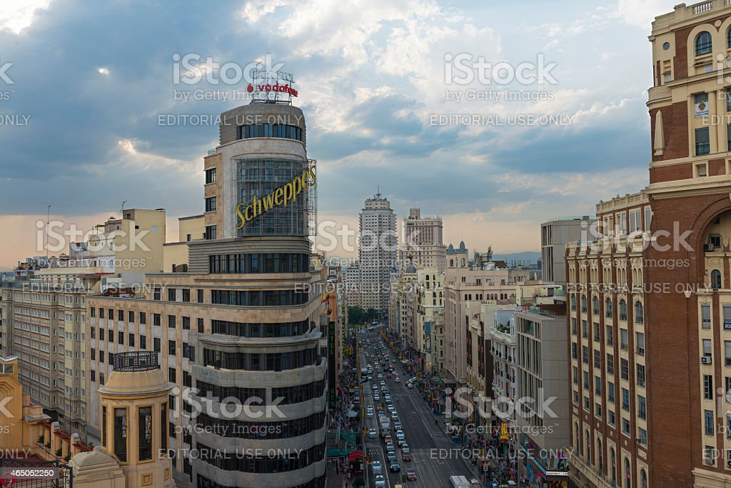 Aerial view of Gran Via and Callao in Madrid stock photo