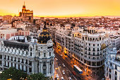 Aerial view of Gran Via, Madrid, Spain