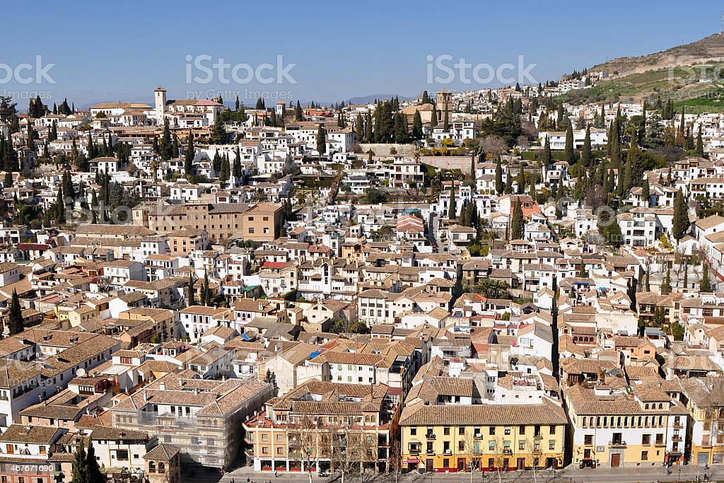 aerial view of Granada city stock photo