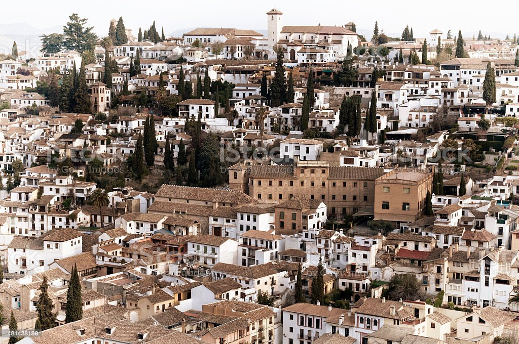 Aerial view of Granada, Spain stock photo
