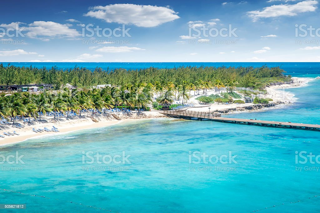 Aerial view of Grand Turk island stock photo