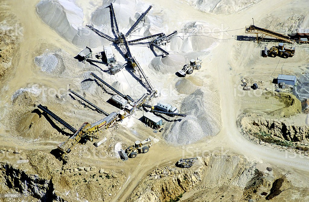 Aerial View of Gravel Pit royalty-free stock photo