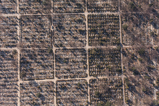 aerial view of  graveyard in Wroclaw city in Poland