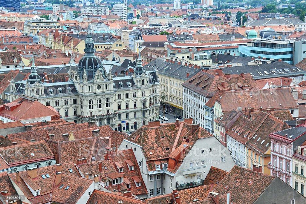 Aerial view of Graz, Austria stock photo