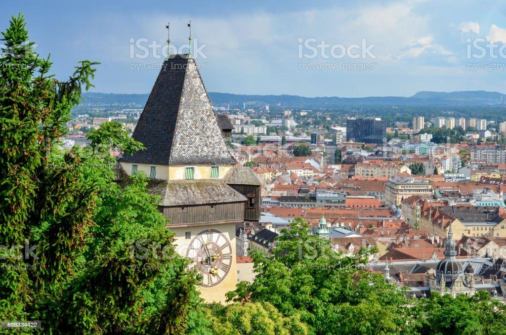 Aerial view of Graz - Austria stock photo