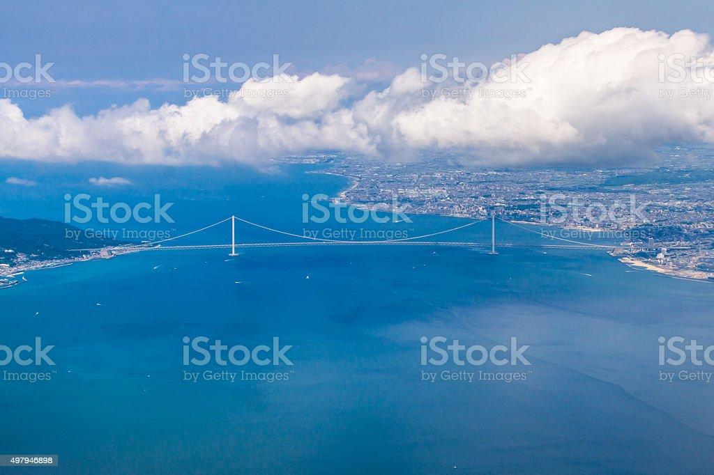 Aerial View of Great Akashi Kaikyo Bridge stock photo