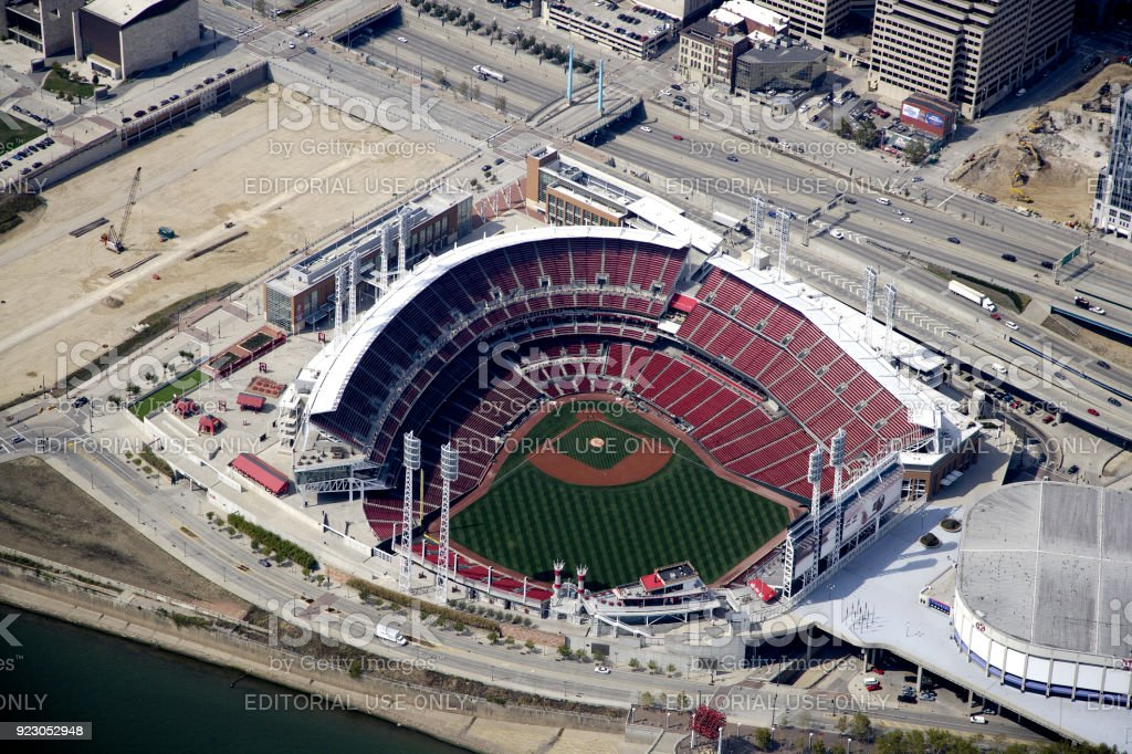 Aerial view of great American Ballpark stock photo