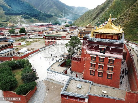 aerial view of Great Golden Tile Hall of Labuleng Lamasery in Xiahe County of Tibetan Autonomous Prefecture of Ganan, Gansu province, China.